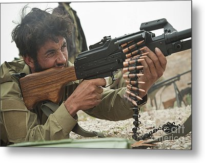 An Afghan Local Police Officer Fires Metal Print by Stocktrek Images