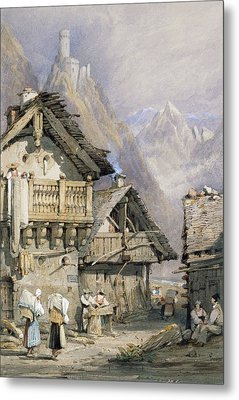 An Alpine Village Metal Print by Samuel Prout
