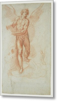 An Angel Holding A Book Recto,  Three Studies Of A Falling Metal Print