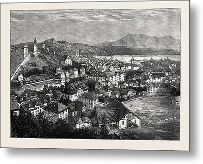 An Autumn Tour In Switzerland General View Of Lucerne Metal Print by Swiss School