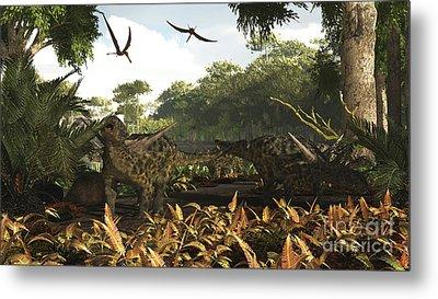 An Group Of Ankylosaurid Dinosaurs Metal Print by Arthur Dorety