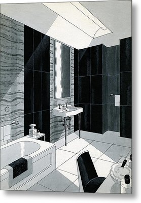 An Illustration Of A Bathroom Metal Print by Urban Weis
