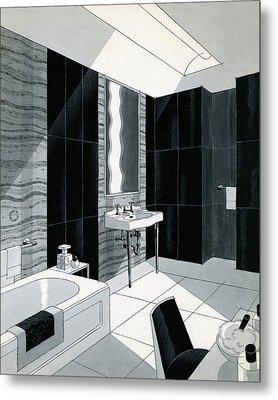 An Illustration Of A Bathroom Metal Print