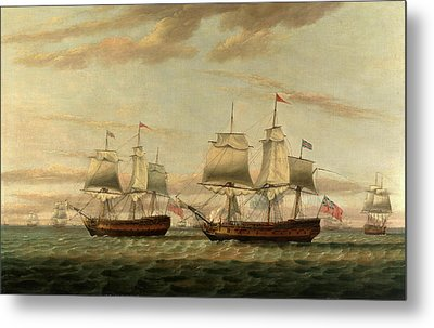 An Indiaman And A Two Decker Hove To, Said To Be Thomas Metal Print by Litz Collection