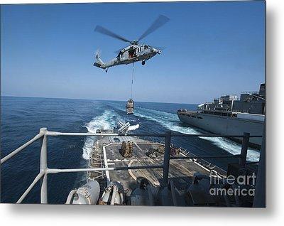 An Mh-60s Sea Hawk Brings Pallets Metal Print by Stocktrek Images
