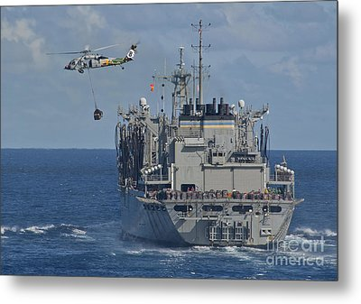 An Mh-60s Sea Hawk Conducts A Vertical Metal Print by Stocktrek Images