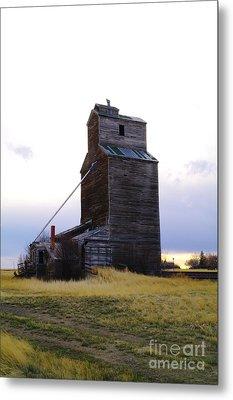 An Old Grain Elevator Off Highway Two In Montana Metal Print by Jeff Swan