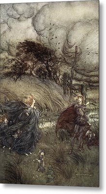 And Now They Never Meet In Grove Or Metal Print by Arthur Rackham