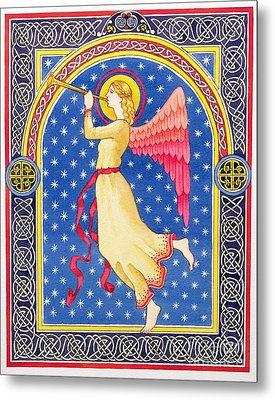 Angel Blowing Trumper Metal Print by Lavinia Hamer