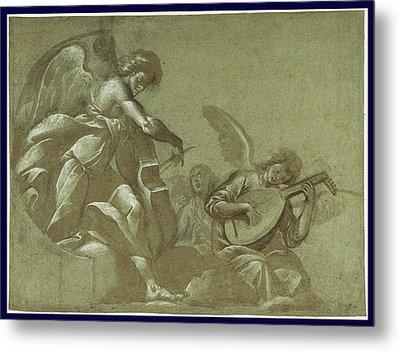 Angel Musicians Recto,  Head Studies Verso Morazzone Pier Metal Print