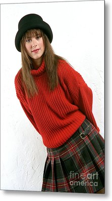 Angela Plaid Skirt Metal Print by Gary Gingrich Galleries