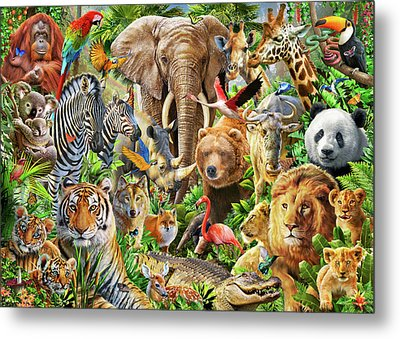 Metal Print featuring the drawing Animal Mix by Adiran Chesterman