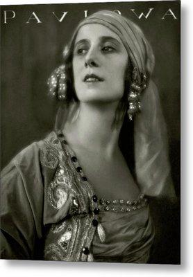 Anna Pavlova Wearing An Ornate Dress Metal Print