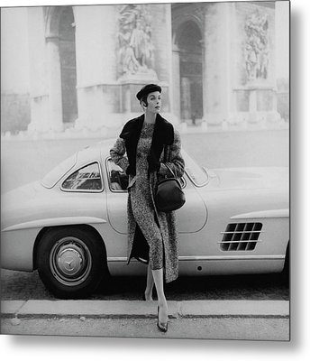 Anne St. Marie By A Mercedes-benz Car Metal Print by Henry Clarke