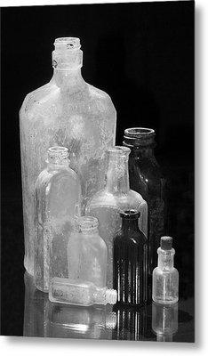 Antique Bottles 4 Black And White Metal Print by Phyllis Denton