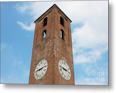 Antique Clock Tower On Blue Sky Background Metal Print by Kiril Stanchev