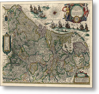 Metal Print featuring the drawing Antique Map Of Belgium And The Netherlands By Willem Janszoon Blaeu - 1647 by Blue Monocle