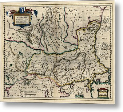 Metal Print featuring the drawing Antique Map Of Bulgaria Romania And Serbia By Willem Janszoon Blaeu - 1647 by Blue Monocle
