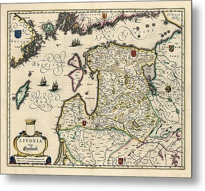 Antique Map Of Estonia Latvia And Lithuania By Willem Janszoon Blaeu - 1647 Metal Print by Blue Monocle