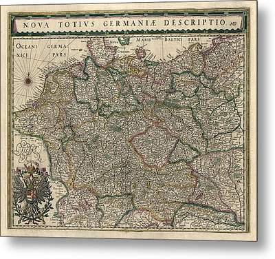 Metal Print featuring the drawing Antique Map Of Germany By Willem Janszoon Blaeu - 1647 by Blue Monocle