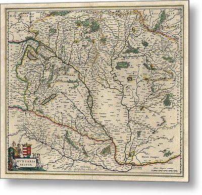 Metal Print featuring the drawing Antique Map Of Hungary By Willem Janszoon Blaeu - 1647 by Blue Monocle