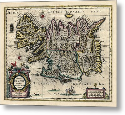 Metal Print featuring the drawing Antique Map Of Iceland By Willem Janszoon Blaeu - 1647 by Blue Monocle