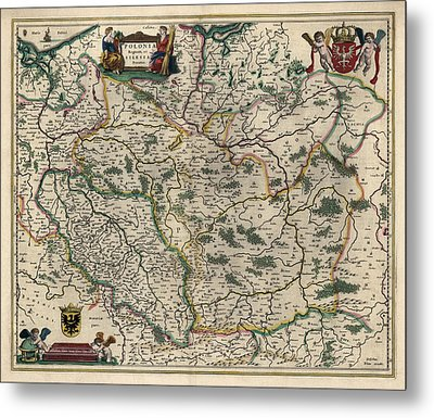 Metal Print featuring the drawing Antique Map Of Poland By Willem Janszoon Blaeu - 1647 by Blue Monocle