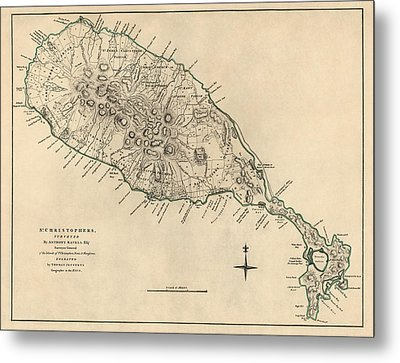 Antique Map Of Saint Kitts And Nevis By Thomas Jefferys - 1768 Metal Print