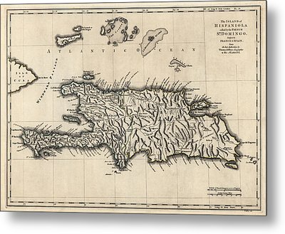 Antique Map Of The Dominican Republic And Haiti By Thomas Jefferys - 1768 Metal Print by Blue Monocle