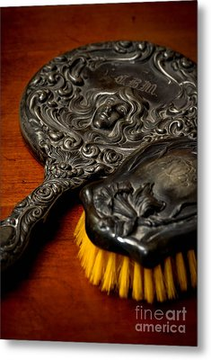 Antique Mirror And Brush Metal Print by Amy Cicconi