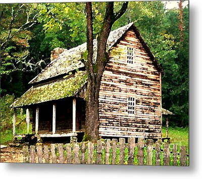 Metal Print featuring the painting Appalachian Cabin by Desiree Paquette