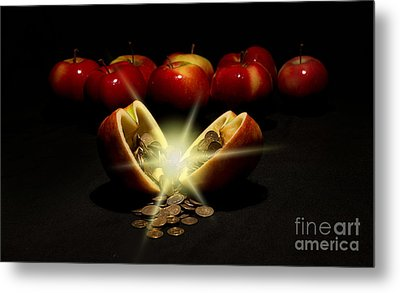 Apples With Copper Coins  Metal Print by Jaroslaw Blaminsky