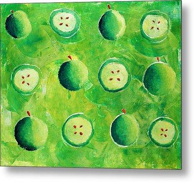 Apples In Halves Metal Print by Julie Nicholls