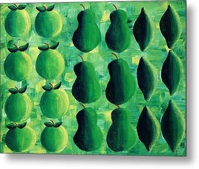 Apples Pears And Limes Metal Print by Julie Nicholls