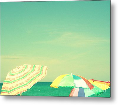 Metal Print featuring the digital art Aqua Sky With Umbrellas by Valerie Reeves