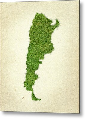Argentina Grass Map Metal Print by Aged Pixel