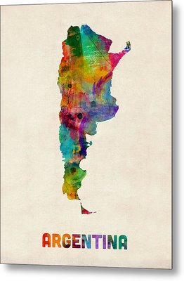 Argentina Watercolor Map Metal Print by Michael Tompsett