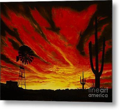 Metal Print featuring the painting Arizona Sunset by Stuart Engel