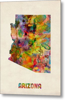 Arizona Watercolor Map Metal Print by Michael Tompsett