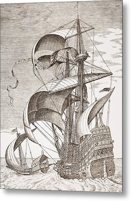 Armed Three-master On The Open Sea Metal Print