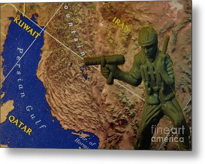 Armed Toy Solider With Middle East Map Metal Print by Amy Cicconi