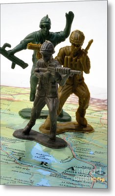 Armed Toy Soliders On Iraq Map Metal Print by Amy Cicconi