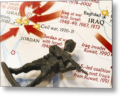 Army Man Lying On Middle East Conflicts Map Metal Print by Amy Cicconi