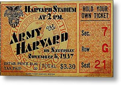 Army Vs Harvard 1937 Ticket Stub Metal Print