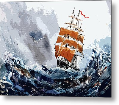 Metal Print featuring the painting Around The Horn by Steven Ponsford