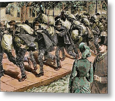 Arrival Of Italian Immigrants To New Metal Print