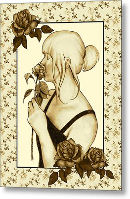 Art Nouveau Style Woman With Roses Metal Print by Joyce Geleynse