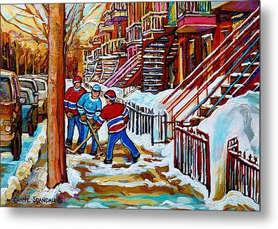 Art Of Verdun Staircases Montreal Street Hockey Game City Scenes By Carole Spandau Metal Print