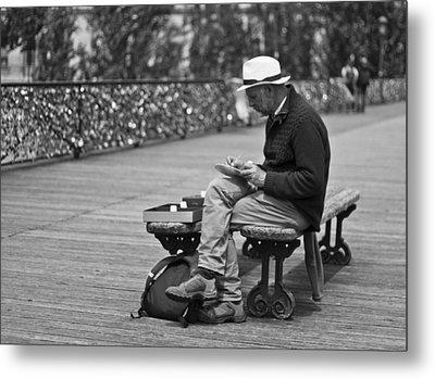 Artist On The Bridge - Paris People Series Metal Print by Georgia Fowler
