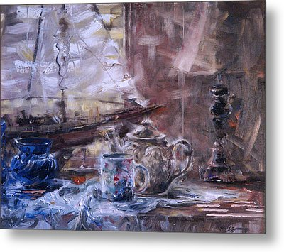 Artist's Desk With Boat Metal Print by Larry Kaiser